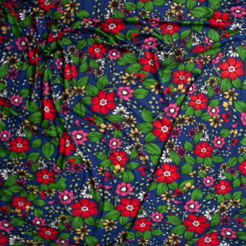 Red, Green, and Yellow Floral on Navy Stretch Rayon Jersey Fabric By The Yard - Wide shot