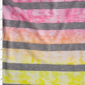 Ombre Tie Dye Heather Grey Horizontal Stripe Lightweight Jersey Knit Fabric By The Yard