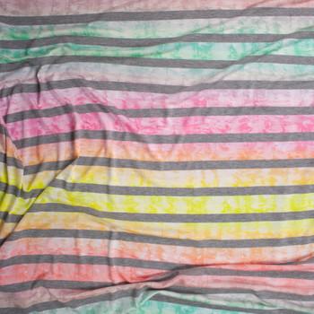 Ombre Tie Dye Heather Grey Horizontal Stripe Lightweight Jersey Knit Fabric By The Yard - Wide shot