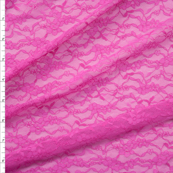 Fuchsia Designer Floral Stretch Lace Fabric By The Yard