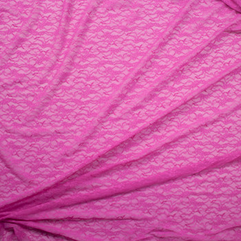 Fuchsia Designer Floral Stretch Lace Fabric By The Yard - Wide shot