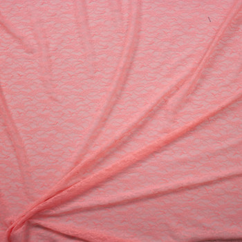 Peach Designer Floral Stretch Lace Fabric By The Yard - Wide shot