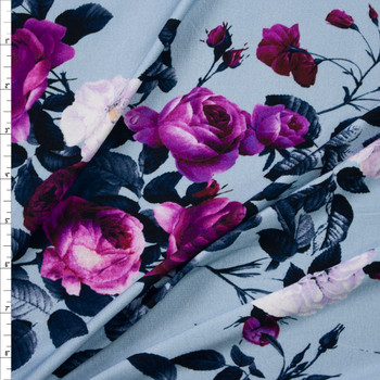 Midnight and Purple Rose Floral on Light Blue Stretch Rayon Jersey Fabric By The Yard