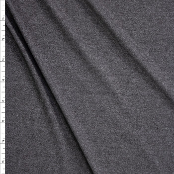 Heather Charcoal Grey Stretch Brushed Polyester Jersey Fabric By The Yard