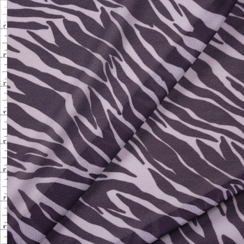 Plum and Grey Zebra Poly Mesh Fabric By The Yard