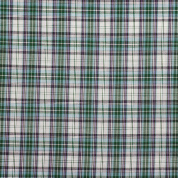 "45/"" Wide Turquoise /& Brown Plaid Cotton-Poly-Blend Shirting A72 By 1//2 Yd"