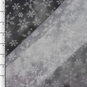 Flocked Snowflakes on White Organza (On Black Background)