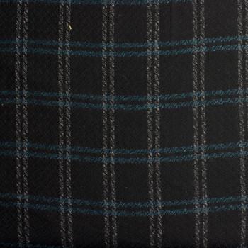 Teal and Grey Plaid Wool Blend Coating