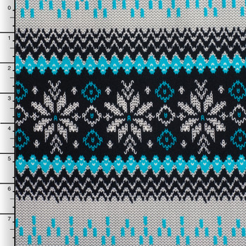 Turquoise, Black, and White Sweater Look Tribal Scuba Knit