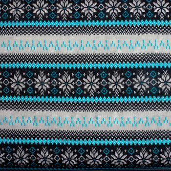 Turquoise, Black, and White Sweater Look Tribal Techno Knit