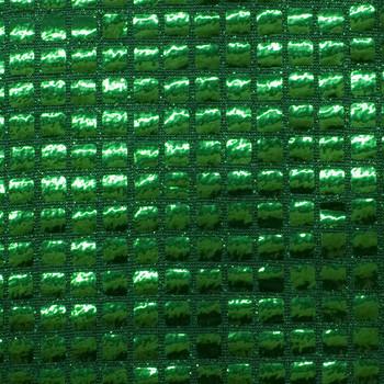 Emerald Green Square Sequin Fabric