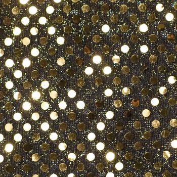 Gold on Black Mini Sequin Fabric