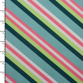 Aqua, Teal, Mint, and Pink Diagonal Stripe Midweight Nylon/Lycra Print