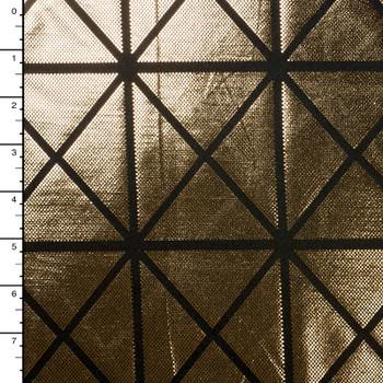 Gold on Black Geometric Metallic 4-way Stretch Nylon/Lycra