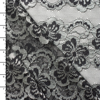 Black  and Silver Floral Stripe Lace #15171