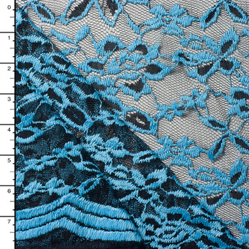 Turquoise and Black Lightweight Embroidered Lace
