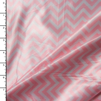 Pink and White Chevron Charmeuse Satin Print