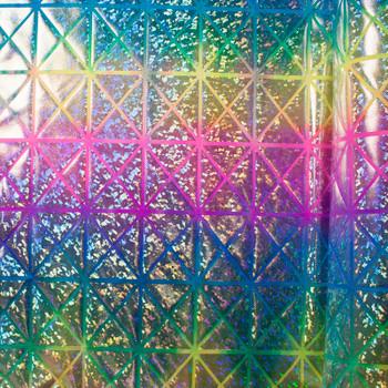 Geometric Silver Holographic on Tie Dye Nylon/Lycra