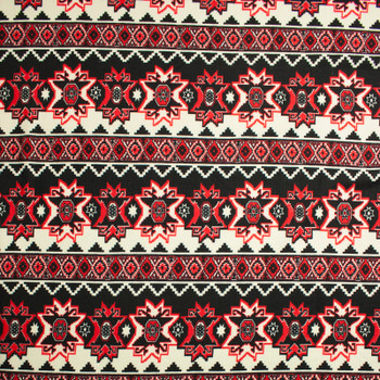 Red, Black, and Offwhite Bohemian Tribal Sweater Knit