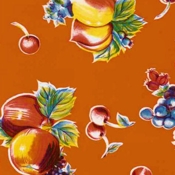 """Pears, Apples, & Oranges"" Orange Oilcloth"