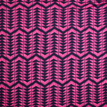 Pink and Navy 4-way Stretch Geometric Print Jersey Knit