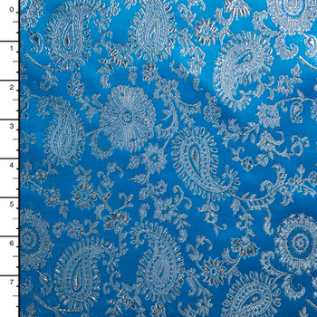 Silver and Turquoise Blue Paisley Designer Brocade