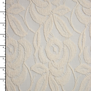 Ivory Large Rose Pattern Cotton Lace