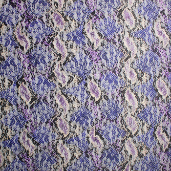 Purple and Black Snake Print Floral Lace