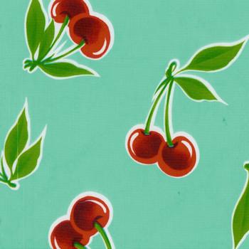 """Stella"" Cherries on Aqua Oilcloth"