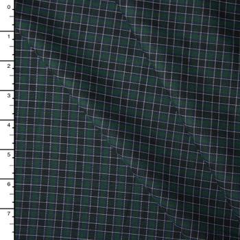 Green and Black Plaid Soft Midweight Cotton Gabardine
