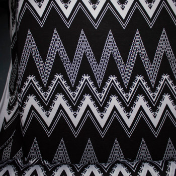 Black and White Patterned Chevron Stretch Rayon Jersey Knit