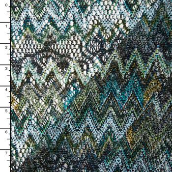 Earth Green Chevron Print Floral Lightweight Crochet Lace