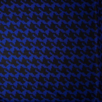 Blue and Black Large Houndstooth Lightweight Sweater Knit