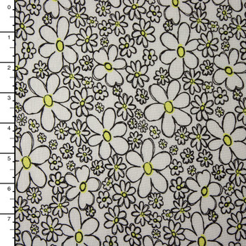 0cfba0f83a6 Black and Yellow Daisies on White Stretch Jersey Knit ...