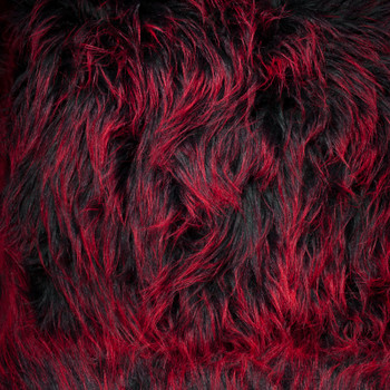 """Red on Black Shaggy 4.5"""" Monster Faux Fur"""