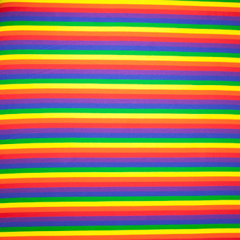 Bright Rainbow Stripe Stretch Midweight Cotton Jersey Knit