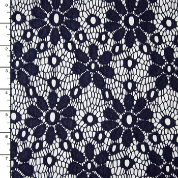 Navy Daisies Floral Lace