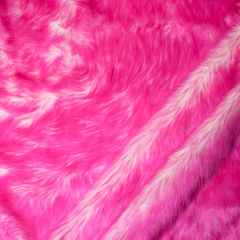 Neon Pink on White Candy Shag Faux Fur