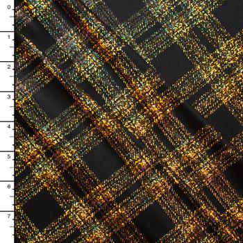 Holographic Gold on Black Diagonal Plaid