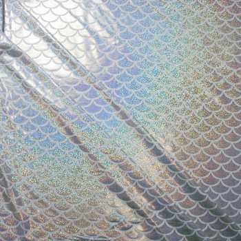 Silver on White Holographic Mermaid Scale Nylon/Lycra