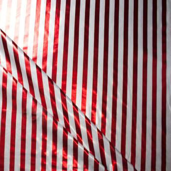 Metallic Red and White Stripe Nylon/Lycra