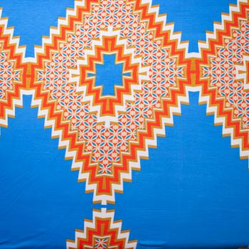 Large Orange and White Diamonds on Bright Blue Stretch Jersey