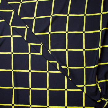 Yellow Windowpane Check on Navy Polyester Peachskin Print