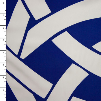 White on Royal Blue Tribal Large Scale Border Print Polyester Peachskin
