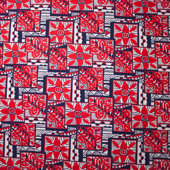 Red, White, and Blue Island Tribal Print Nylon/Lycra