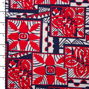 Red, White, and Blue Island Tribal Print Nylon/Lycra