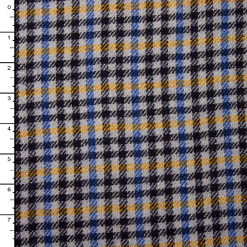 Blue, Yellow, Black, and Light Grey Plaid Italian Wool Coating