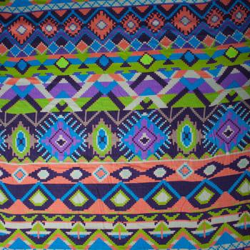 Green, Orange, and Purple Tribal Stripe Rayon Challis Print