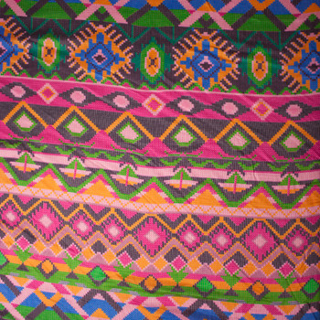 Hot Pink, Orange, and Green Tribal Stripe Rayon Challis Print