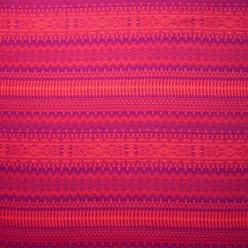 Neon Orange and Hot Pink Tribal Stripe Stretch Rayon Jersey